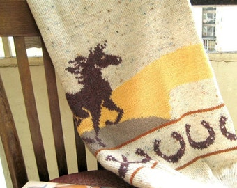 Horse Sweater Tunic Women Knitted CUSTOM Wool Ivory Picture Horseshoe Rustic Crewneck Country chic Year of the Horse Size XL by Dimana