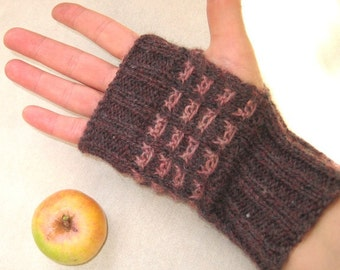Hand Knit Wool Fingerless Gloves, Brown Powder Rose Fingerless Mittens, Jacquard Arm Warmers, Fall Winter Women Accessory, Christmas Gift