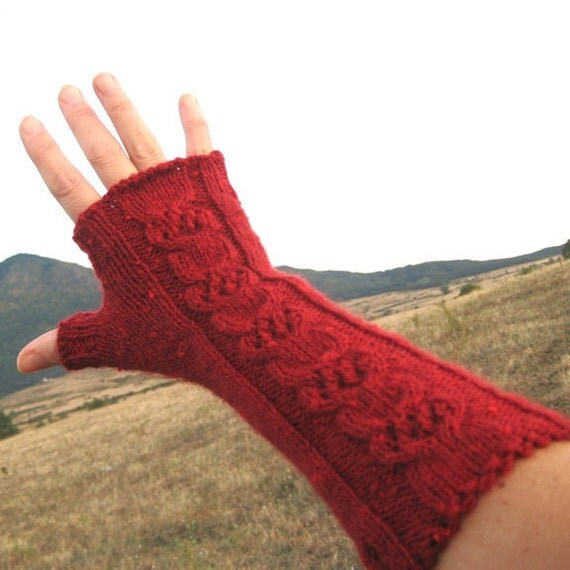 Cable Hand Knit Fingerless Gloves Long Red Fingerless
