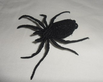 UK Black gothic lace spider applique, necklace, choker centerpiece, brooch, pin hand made