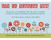 Retro Garden Customized Printable Party Invitation, 7x5 inch