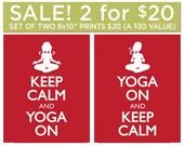 SALE - Set of 2 Yoga Prints, 8x10 inch, 20 USD