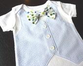 Baby Blue Seersucker Tuxedo Bodysuit with Removable Polka Dot Bow Tie