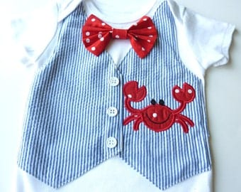 Mr. Crab Navy Blue Seersucker Tuxedo Vest Bodysuit with Matching Removable Bow Tie