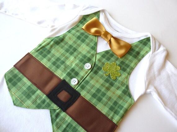 St. Patrick's Day Leprechaun Onesie Vest with Matching Gold Bow Tie
