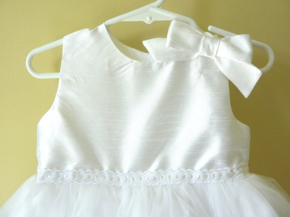 Handmade Beautiful White Flower Girl Dress, Size 2T Available
