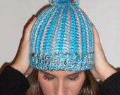 Ready to Ship - Women's Striped Knit Hat In Turquoise and Silver