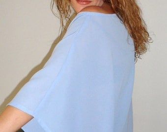 Off Shoulder Asymmetrical TunicTop With Kimono Sleeve In Lavender