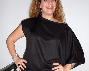 Off Shoulder Asymmetrical Top With Kimono Sleeve In Silky Black Knit