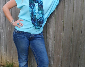 Asymmetrical Off Shoulder Top With Kimono Sleeve In Light Turquoise