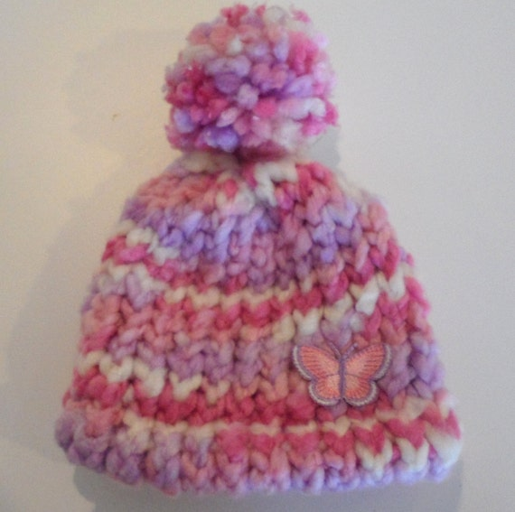 Ready to Ship - Knit Newborn Hat in Pink and Purple