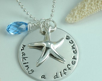 Making a Difference Necklace - by the sea - with Starfish Charm and blue briolette