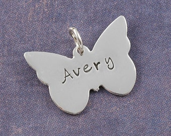 Butterfly Charm - Personalized - Sterling Silver