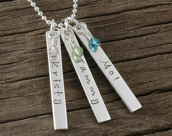 Mother's Necklace - Personalized Jewelry - 3 Rectangle Tags with birthstones - Double Sided - Three charms - hand stamped