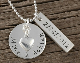 Personalized Necklace - hand stamped jewelry - Names - date - Perfect for anniversary - wedding - engagement - Valentine's Day