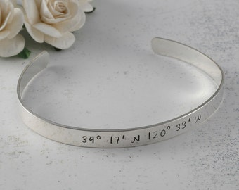 Latitude and Longitude Coordinates - Personalized Cuff Bracelet sterling silver engraved - 1/4 inch width