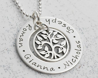 Family Tree Necklace - personalized hand stamped - mommy jewelry - 1 inch open circle washer