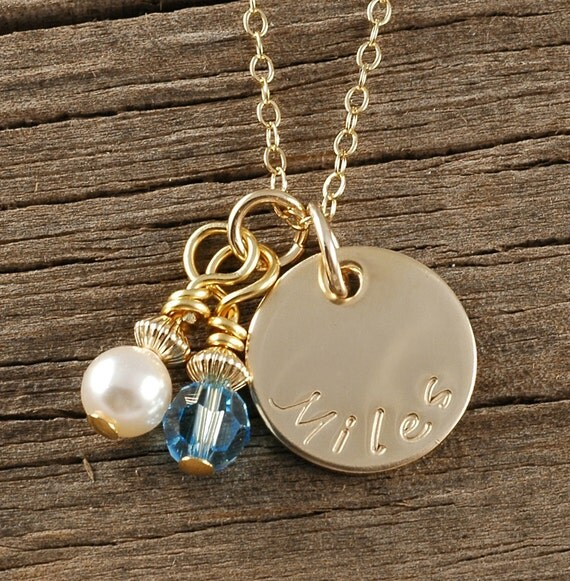 Personalized  Gold charm necklace  with Birthstone and Pearl