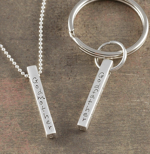 Personalized 4 sided sterling silver Bar Pendant and key chain- Customize - Your Words or Names