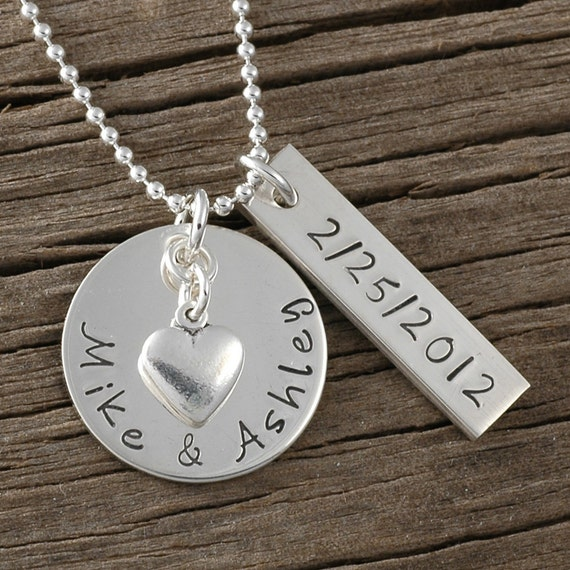 Personalized necklace hand stamped jewelry names date for How to make hand stamped jewelry