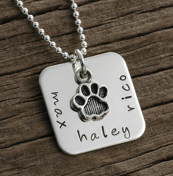 I love my pet - personalized, hand stamped square necklace - NEW