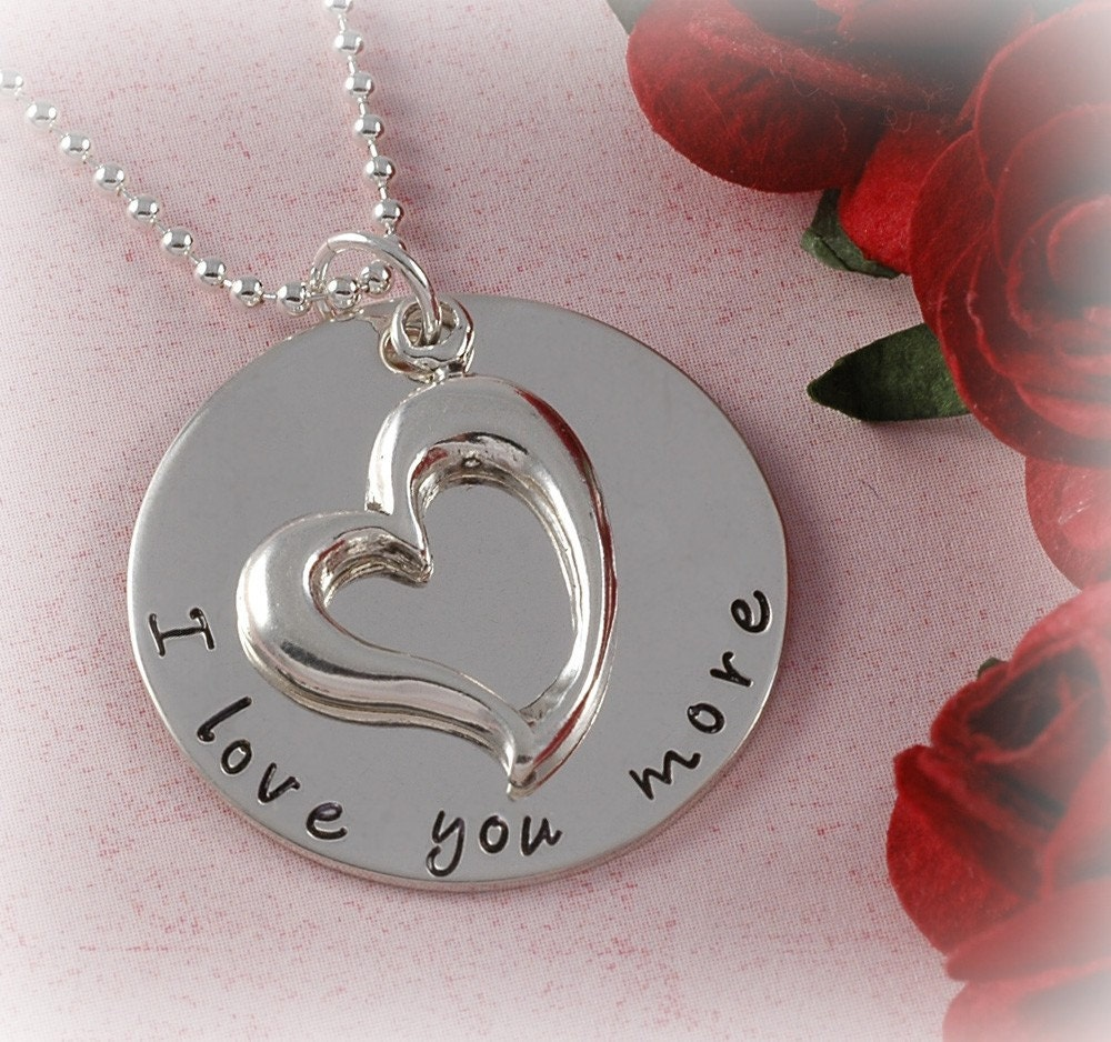 i love you more necklace with open heart charm engagement