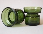 DANSK IHQ Green Glass Candle Holders