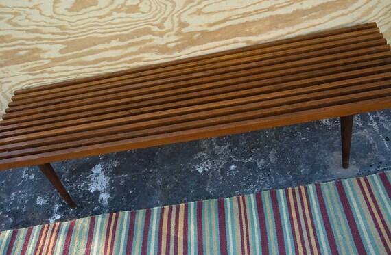 Vintage Mid Century Modern Wooden Slat Bench By