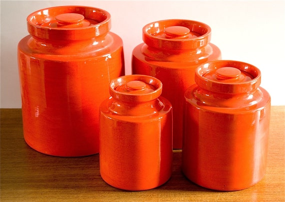 orange storage jars kitchen vintage mod orange ceramic canister set 3766