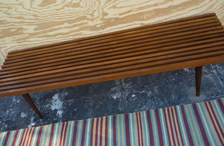 Vintage Mid Century Modern Wooden Slat Bench