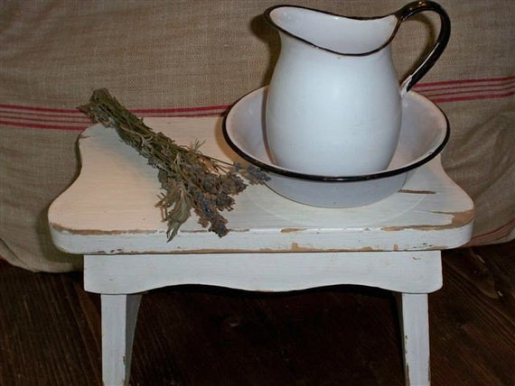 Vintage Small White Wooden Bench