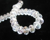 Faceted Clear Crystal AB Rondelle Beads, 8mm x 6mm, 8 inch strand, 36 pieces