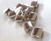 24 Smooth silver square spacer beads, 7mm x 7mm, 24 pieces