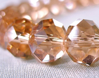 "Pink Champagne Faceted Rondelle Crystal Beads, 10mm x 8mm, full 10"" strand, 36 beads"