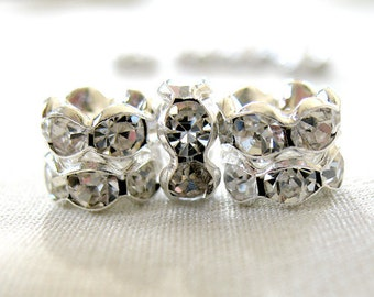 12 pc 7mm Clear Crystal A Grade Rhinestone Silver Plated Wavy style Rondelle Spacer Beads, pkg 12