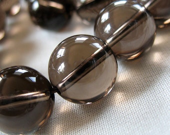 12mm Flawless Smoky Quartz Round Beads, 12mm diameter, full strand, 15.5 inches long