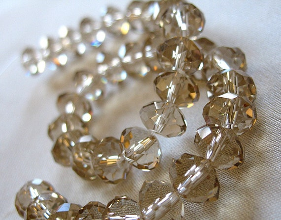 """LAST ONE Faceted Champagne Crystal Rondells 8mm x 6mm, 36 pieces, 8"""" strand"""