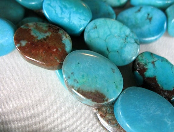 "China Turquoise Twisted Oval Beads, 18mm x 14mm, full 16"" strand ONLY ONE LEFT"