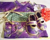 Last one available in this color Baby girl Kimono top with shoes size 6m only