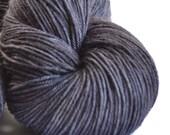 Yarn, soft merino wool, hand dyed gorgeous sock yarn in charcoal, grey, black tonal - SOOT