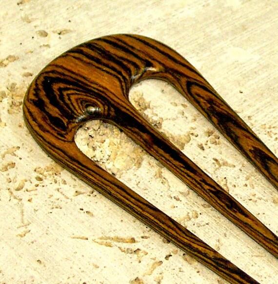 Hair Fork - Three-Pronged Exotic Bocote Wood Hair Pin