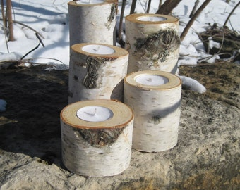 Birch Candle Holder  Wedding Centerpieces   Home Decor  Candles Wood Christmas Holiday