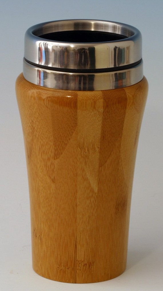 Bamboo travel mug with stainless steel interior by - Travel mug stainless steel interior ...