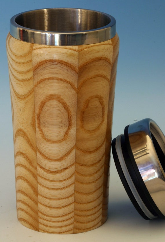 Wooden Travel Mug with Stainless Steel Insert and Sliding Sipper Top