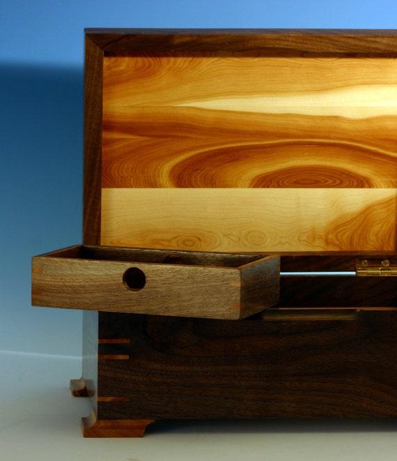 Wooden Jewelry / Keepsake Box with Sliding Inner Drawer and Aroma Generator