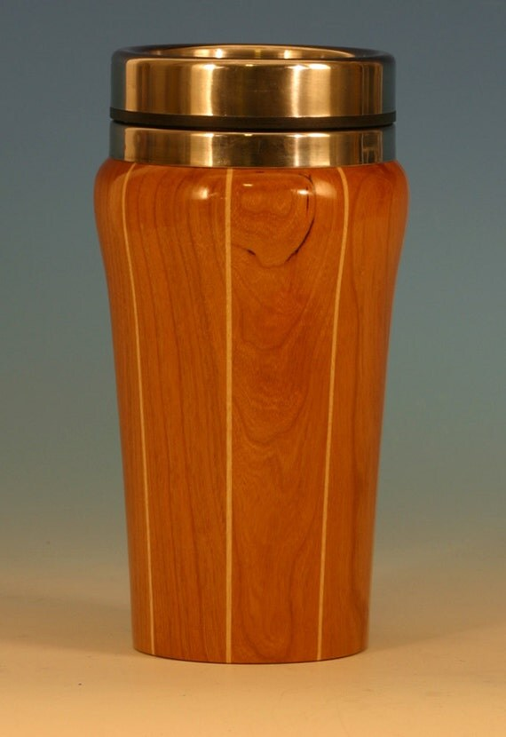 Cherry With Birch Accents Wooden Travel Mug with Stainless Steel Insert and Sliding Sipper Top