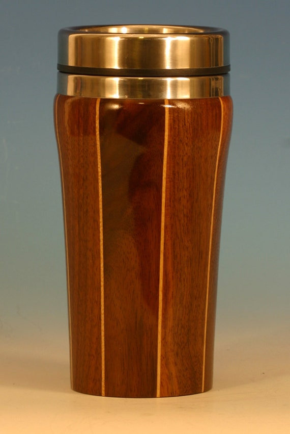 Walnut with Birch Accents Wooden Travel Mug with Stainless Steel Insert and Sliding Sipper Top