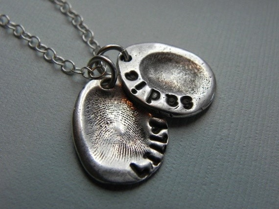 Fingerprint Jewelry Silver Personalized Mommy Charm for Necklace - Mother's Day Mom from Kid by Lilybud