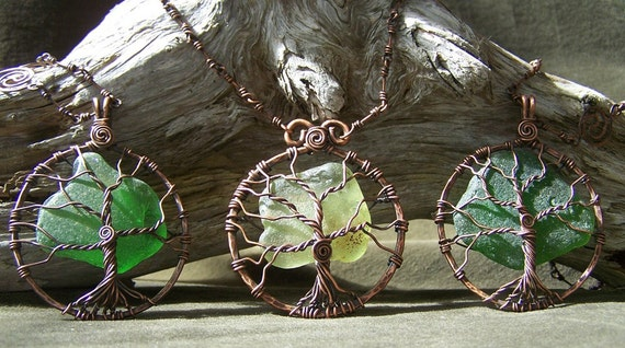 Totally Recycled Handmade Seaglass and Copper Tree Necklace & Earrings Set