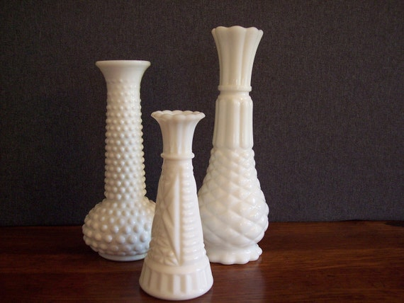 Vintage Milk Glass Bud Vase Trio Collection